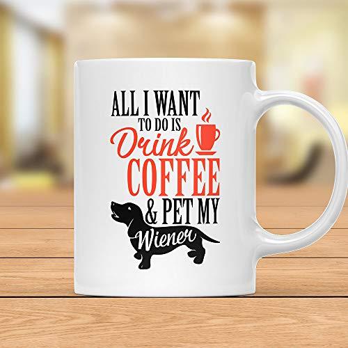 Taza de café con texto en inglés 'Drink Coffee and Pet My Weiner, Dachshund', taza de café perro salchicha