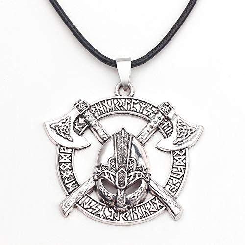 """Norse Warrior Helmet Necklace for Men, Viking Runes Double Axe Pendant Necklace with 15.7""""+1.9"""" Chain, Nordic Warriors Tribal Amulet Necklace, Leather Cord, Punk Viking Jewelry Gift (Silver)"""