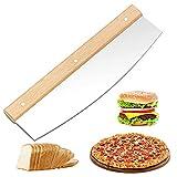 Pizzaschneider Pizza Messer Pizza Cutter Pizzaschneider Mit Holzgriff Pizza Teigschneider Pizza Wiegemesser Mit Holzgriff Scharfer Edelstahlklinge Schnelles Und Gleichmäßiges Schneiden 32cm