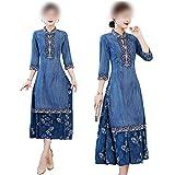 Qipao Robe d'été 2020 - Robe en jean brodée - Col mandarine - Style vintage - Pour femme - Bleu - XXL