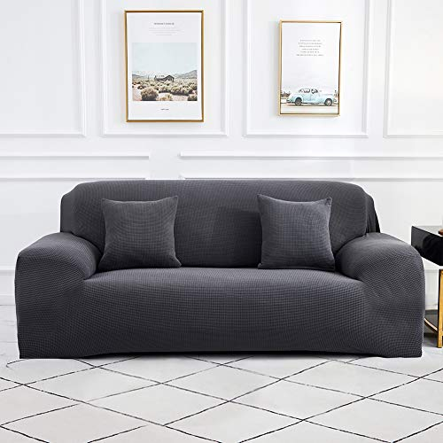 Sinoeem High Stretch Sofa Covers 1 2 3 4 Seater (Free 2 Cushion Covers) Non Slip Slipcover Furniture Protector with Spandex Jacquard Checked Pattern Fabric Washable