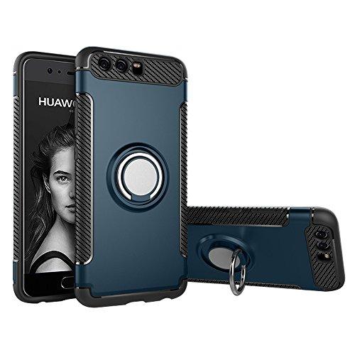 BLUGUL Coque Huawei P10, Support à Anneau Rotatif à 360 Degrés, Compatible avec Magnétique Support Voiture, Housses pour Huawei P10 Cyan