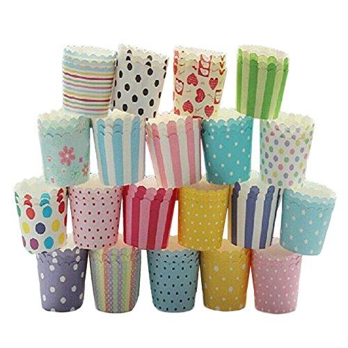 doitsa 50pcs/set colorido papel flor pastel Cupcake Muffin taza molde casos de boda decoración Decor Stand Wrapper Toppers–Color aleatorio, multicolor