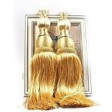 VIPMOON 1 par Clips de Cortina Hechos a Mano Cuerda Tie Band VS Lob Fring Tiebacks Europa Hebillas Holdbacks Tassel Ball Rope para decoración del hogar, Juego de 2 - Oro