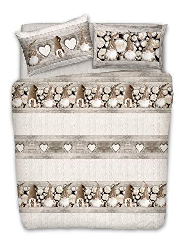 Homelife - Juego de funda nórdica para cama de matrimonio, 100 % algodón, 250 x 200 cm, fabricado en Italia | Juego de funda de edredón y fundas de almohada...