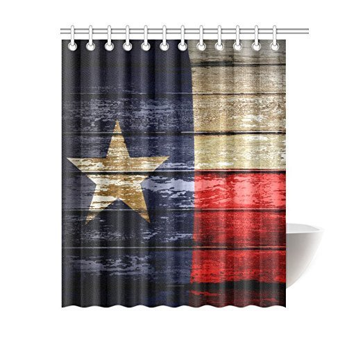 Z&L Home Custom Closeup of Texas Flag Bathroom Waterproof Fabric Shower Curtains