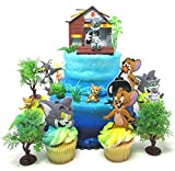 Tom and Jerry 11 Piece Birthday Cupcake Topper Set Featuring Tom, Jerry, Spike and Decorative Themed Accessories