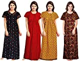 Women's Pure Rich Cotton Nightie with Smooth Fabric Surface and Piping Work Set (Mixed Colour, Free Size) -Pack of 4