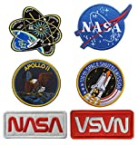 Antrix 6 Pcs NASA Office Logo Apollo 11 Space Shuttle Plan 100th Space Shuttle Mission Hook & Loop Military Emblem Badge Patch for Backpacks Caps Hats Bags Collection