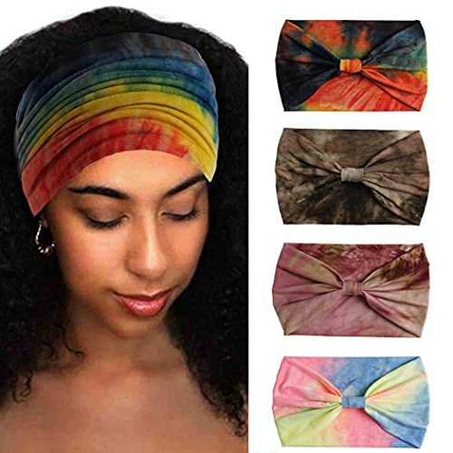 Aceorna Wide Headbands Stretch Turban Knotted Hairbands Elastic Yoga Workout Sweatband Running Sport Head Scarf Large African Head Wraps for Women 4 Pcs (Set E)