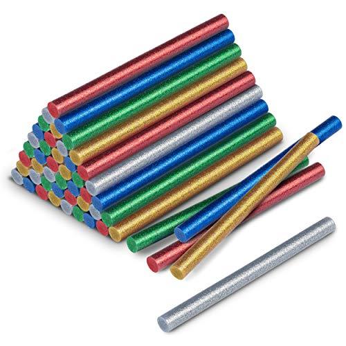 TROTEC 50 Stück Heißklebestifte 11mm Glitzer - Klebstoff für 11mm Heißklebepistole Heißkleber Sticks Klebestifte