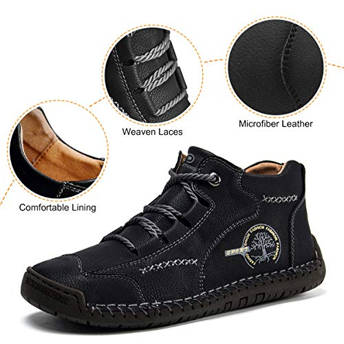 Dacomfy Casual Boots for Men Comfortable Ankle Boots Hand Stitching Hiking Lace Up Vintage Oxford Leather Loafers Shoes for Male Father Husband