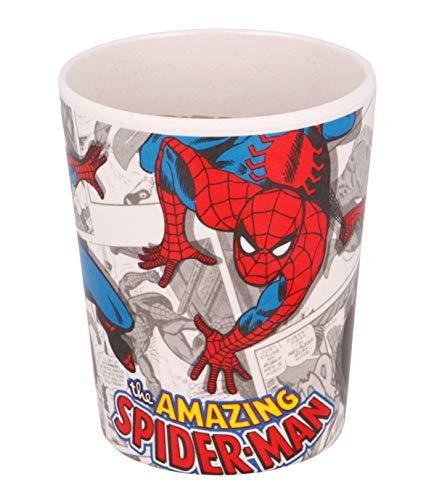 Theonoi Kinder Trinkbecher 270 ml Becher Glas aus Bambus BPA frei umweltfreundlich Wieder verwendbar (Spiderman)