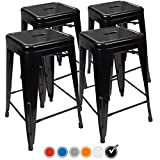 """UrbanMod 24"""" Stool Set of 4 by Distressed White Rustic Bar Stools -Counter Height Stools 330lb Capacity Metal Stool Chair - Stackable Indoor/Outdoor Bar Stools for Kitchen Counter and Island"""