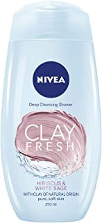 NIVEA Clay Fresh Body Wash, Fresh Hibiscus & White Sage, 250ml
