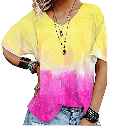Summer Ladies Tie-Dye Gradient Print Camiseta Suelta con Cuello En V Camisetas De Manga Corta
