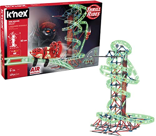 K'NEX Thrill Rides – Web Weaver Roller Coaster Building Set – 439 Pieces – Ages 9 and Up – Construction Educational Toy, Multicolor