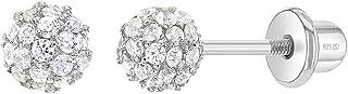 925 Sterling Silver Clear CZ Fireball Screw Back Earrings Girls or Teens 4mm