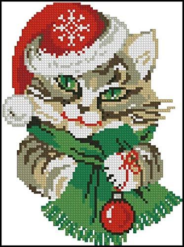 kreuzstich set erwachsene Kit,Katze mit Weihnachtsmütze,Anfänger Kreuzstich Vorgedruckt,Weihnachtsgeschenk,DIY Kunst Kreuzstich,Heimdekoration-40x50cm (11CT vorgedruckte Leinwand)