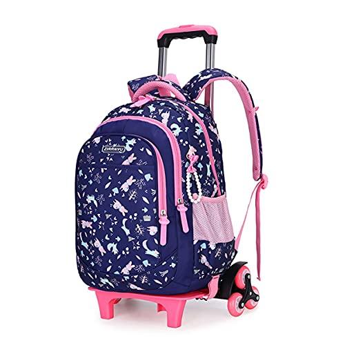 Mochila Escolar Trolley Niña, Mochila Niños con 6 Ruedas Equipaje de Viaje Multifuncional para Niños Niñas (Color : Blue, Size : 45 * 31 * 18cm)