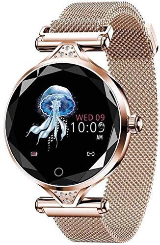 AMBM Pulsera de fitness de moda reloj inteligente para mujer, IP68, resistente al agua, modo multideportivo, banda inteligente de frecuencia cardíaca, para pulseras de señora (color púrpura) y dorado