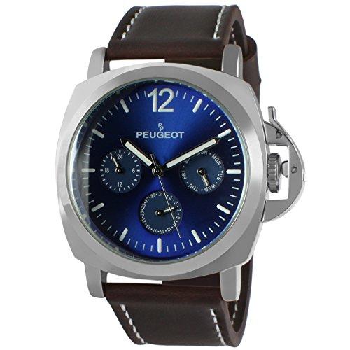 Relógio esportivo masculino Peugeot, multifuncional com proteção da coroa e pulseira de couro, Azul