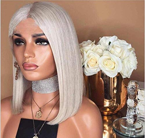 JPDP Colorful Short Bob Lace Front Hair Wig Light Grey/Blue/Pink/Purple Straight Full Lace Wig Brazilian Remy Hair 12inches Lace Front Wig
