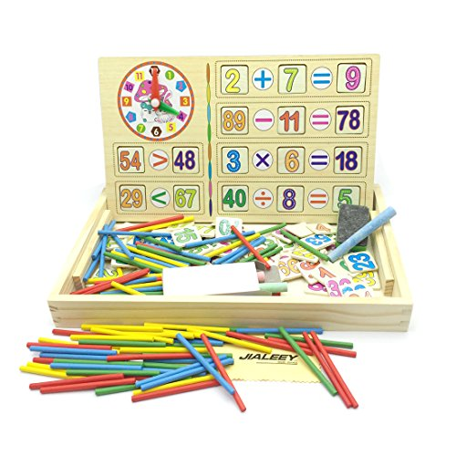 Montessori Toys For Toddlers, JIALEEY Preschool Teaching Tool Math Number Counting Sticks with Blackboard and Clock Wooden Mathematics Learning Educational Toys for Kid Children Baby