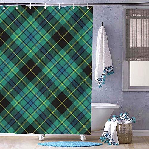 Odeletqweenry 72' x 79' Shower Curtain, Bath Decor, Green Ireland Tartan Bathroom Decor, Bathroom Curtain