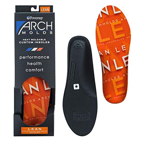 Powerstep Archmolds Lean Orthotic Insoles Heat Moldable Shoe Inserts for Slim Cushioning and Full Support for at Home Workouts, Orange, Men's 10-10.5 / Women's 11.5-12