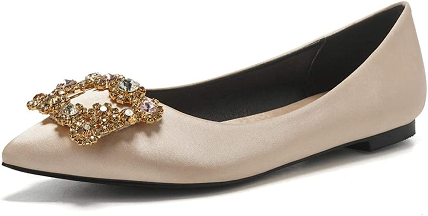Fay Waters Women Pointed Toe Flat Crystal Decorated Single shoes Ladies Low Heel Party Wedding shoes