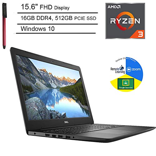 Dell Inspiron 15 3000 15.6' FHD Laptop Computer_ AMD Ryzen 3 2200U (Beat i5-7200U)_ 16GB DDR4 RAM_ 512GB PCIe SSD_ Online Class Ready_ Microphone_ Webcam_ Windows 10 Home_ BROAGE 64GB Flash Drive
