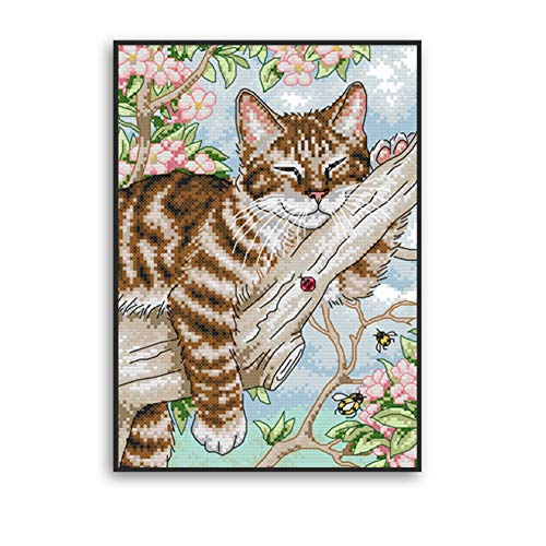 Proumhang 11 CT DIY borduurpakketten Kruissteek tafelkleed om te borduren 4 strengen Aida canvas Bedrukt 27x39cm: Kleine luie kat