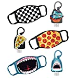 ABG Accessories 3-Pack Kids Face Mask and Hand Sanitizer Holder Keychain (1 Fl Oz. Flip Cap Reusable Empty Bottles), Shark Design, Boys 4-10