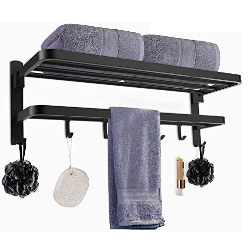 YIRAN Double Chrome Wall Mounted Bathroom Towel Rail Holder Storage Rack Shelf Bar SUS 304 Stainless Steel Wall Mounted Towel Holder Towel with 4 Hooks (Color : Black, Size : 24inch)