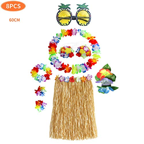Hula Dancer Disfraz,Hula Juego de Falda de Hierba, Incluye Pulsera Diadema Collar de Flores Hierba Clip de Pelo Hibisco,Hula Juego de Falda de Hierba
