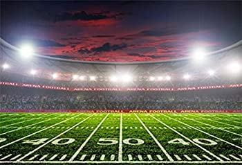 CSFOTO 10x8ft Stadium Backdrop American Football Field Photography Background Rugby Soccer Boys Sports Game Competition Spotlight Birthday Party Banner Kids Children Photo