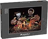 fotopuzzle.de Puzzle 1000 Teile Gegrillte Rindersteaks mit Gemüse und Gewürzen fliegen über das lodernde Grillfeuer
