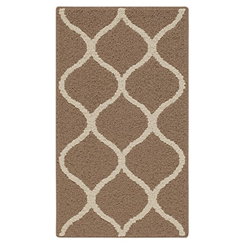 Maples Rugs Rebecca Contemporary Kitchen Rugs Non Skid Accent Area Carpet [Made in USA], 1'8 x 2'10, Café Brown/White