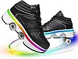 SHHAN Doble Fila Patines Zapatos Deformación Niños Multifuncionales Patines Cuádruples Ruedas Ajustables Adultos Zapatos Deportivos para De Patinaje Al Aire Libre,Black led,36