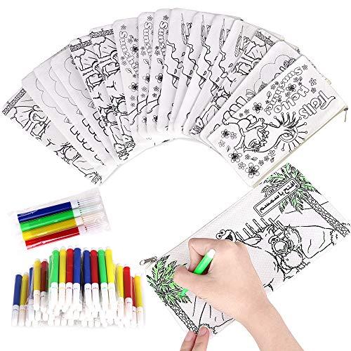 Faburo 32pz Kit | 16 Astucci da Colorare + 16 Colori Penne, Bustine da Colorare Penna Colorata per Bambini, Sacchettini per Feste e Compleanni per Bambini Gadget Compleanno Astuccio per Natale