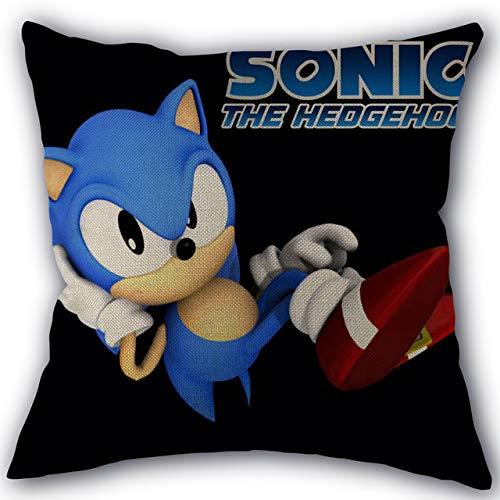 cuscino sonico Sonic The Hedgehog Federa Tessuti per la casa Tessuto di lino e cotone Fodere per cuscino con decorazione su un lato