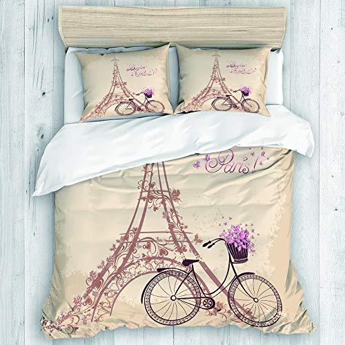 JOSENI Bedding Juego de Funda de Edredón,Bonjour Paris Torre Eiffel y Bicicleta Vintage con Flores Retro Color Suave,Microfibra SIN Relleno,(Cama 240x260 + Almohada)