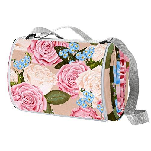TIZORAX Picknickdecke mit rosa Rosen und blauen Blumen, wasserdicht, faltbar, für Strand, Camping, Wandern