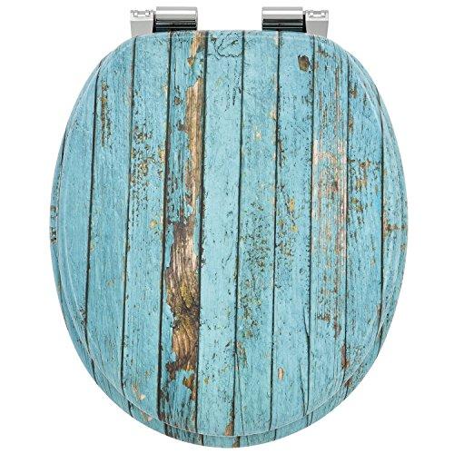 Juskys WC Sitz Wood mit Absenkautomatik & Deckel | MDF Holz | verchromte Scharniere | Motiv Toilettensitz Toilettendeckel Klodeckel