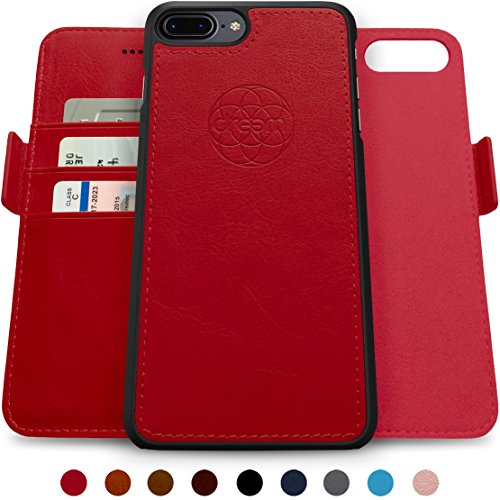 Dreem Fibonacci 2-in-1 Wallet-Case for iPhone 8-Plus & 7-Plus, Magnetic Detachable Shock-Proof TPU Slim-Case, RFID Protection, 2-Way Stand, Luxury Vegan Leather - Red