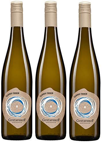 Weingut Gustavshof: 3 Flaschen Silvaner 2018 trocken mit einem Hauch von Birne und Aprikose. Bio-Wein, Demeter zertifiziert