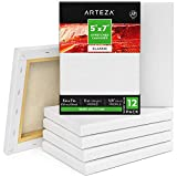 Arteza 5 x7 Stretched White Blank Canvas, Bulk (Pack of 12), Primed 100 Cotton, for Painting, Acrylic Pouring, Oil Paint Wet Art Media, Canvases for Professional Artist, Hobby Painters Beginner