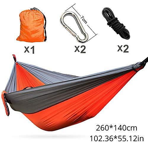 Hamac Camping Survie Jardin Chasse Loisirs Voyage Double Personne Portable Parachute Hamacs-Orange Gris Hamac