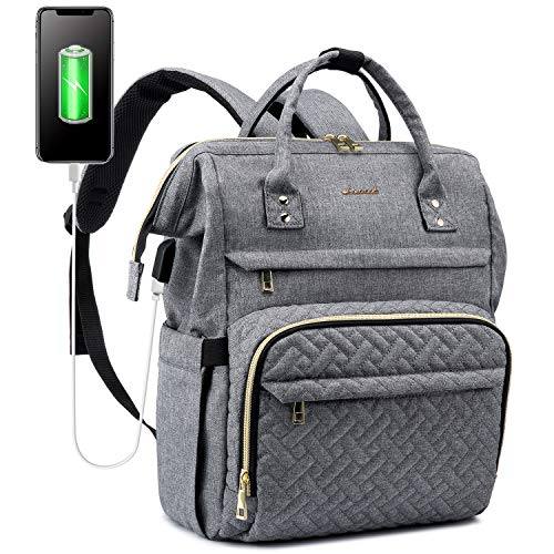 LOVEVOOK Rucksack Damen für Schule, Laptop Rucksack 15,6 Zoll Laptoptasche, Wasserdicht Tagesrucksack mit USB-Ladeanschluss und Anti Diebstahl Tasche für Universität Reise Arbeit, Grau